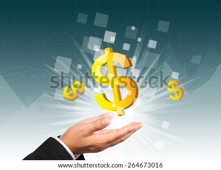 Abstract investment concept background. Hand holding dollar symbol