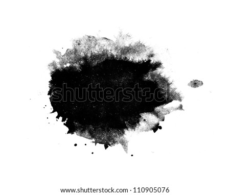Abstract isolated black ink stain - stock photo