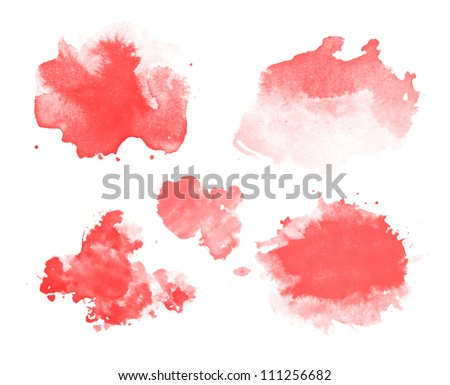 Abstract isolated watercolor stains - stock photo