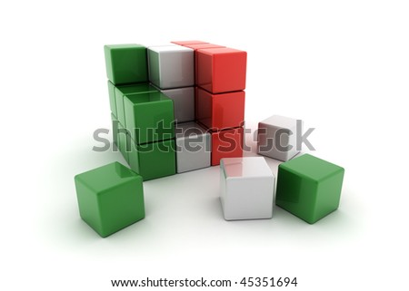 Abstract Italian flag concept over white background