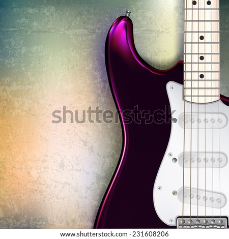 abstract jazz rock grunge background with red electric guitar - stock photo