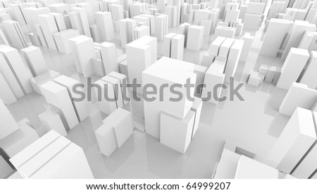 Abstract labyrinth construction from plastic white  blocks - stock photo