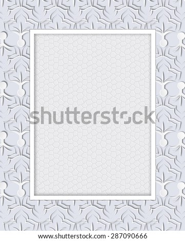 Abstract  lace frame with ornamental grey background.  - stock photo
