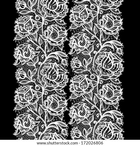 Abstract lace ribbon seamless pattern with elements flowers. Template frame design for card. Lace Doily. Can be used for packaging, invitations, and template. - stock photo