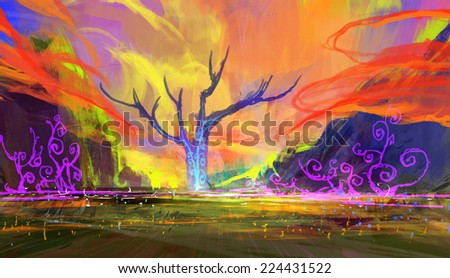 abstract landscape digital painting,colorful nature - stock photo