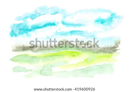 Abstract landscape view with bright blue sky painted in watercolor on white isolated background - stock photo