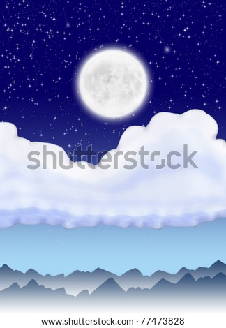 Abstract landscape with moon, clouds and mountain