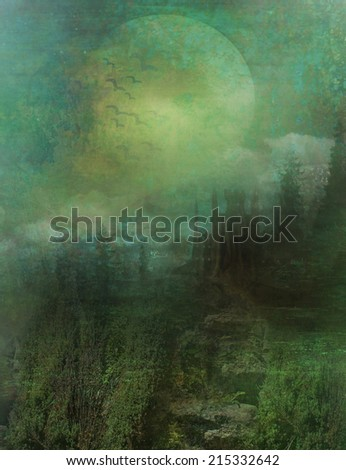 abstract landscape with old castle in moonlight - stock photo