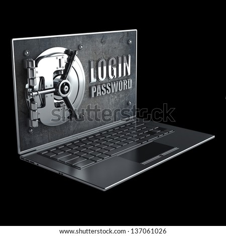 Abstract laptop safe (concept) isolated on black background High resolution 3d render - stock photo
