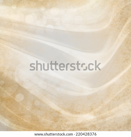 abstract layers of bubbles and liquid waves background. white gold color with aged distressed texture border - stock photo
