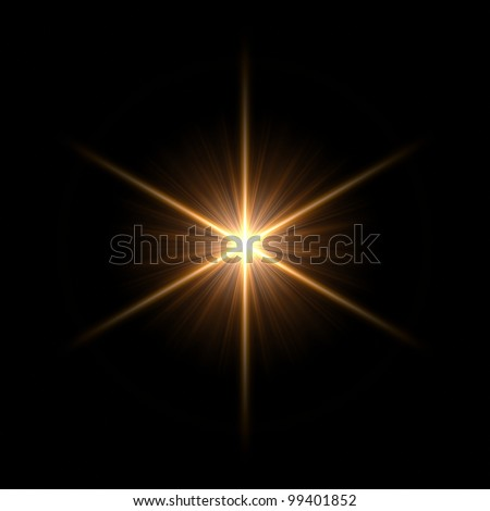 Abstract lens flare light over dark background - stock photo