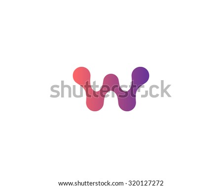 Abstract letter W logo icon design. Universal colorful biotechnology molecule atom dna chip symbol. Medicine, science, technology, laboratory, electronics logotype.
