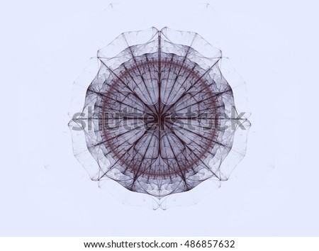 Abstract light background with geometric patterns. Symmetrical lines and a variety of forms and elements form a kind of flower. Unusual Interpretation of mandala.