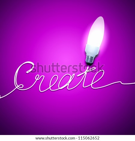 Abstract Light Bulb with the word Create on pink background. - stock photo