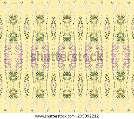 Abstract light geometric background, seamless delicate ellipses and diamond pattern, green and purple elements on beige - stock photo