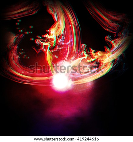 abstract lights and shine background. 3D illustration. Anaglyph. View with red/cyan glasses to see in 3D. - stock photo