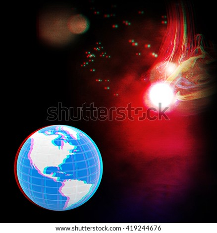 abstract lights, shine and earth . 3D illustration. Anaglyph. View with red/cyan glasses to see in 3D. - stock photo
