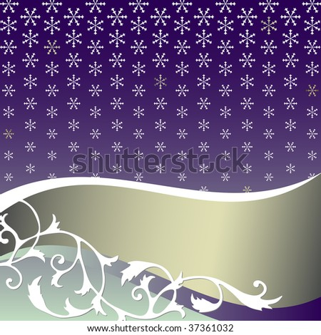 Abstract  lilas background with snowflakes and silvery banner - stock photo