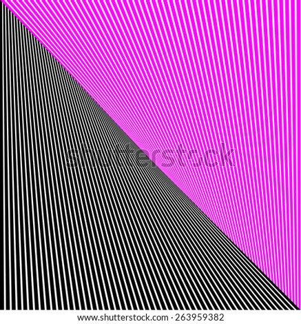 abstract lines twisted illusion black and pink - stock photo