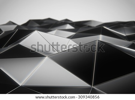 Abstract low poly black surface 3d rendering. Futuristic background concept.