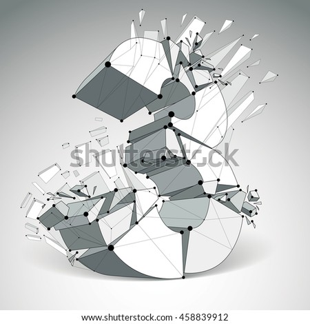 Abstract low poly wrecked number 3 with black lines and dots connected. 3d origami futuristic font with lines mesh. - stock photo