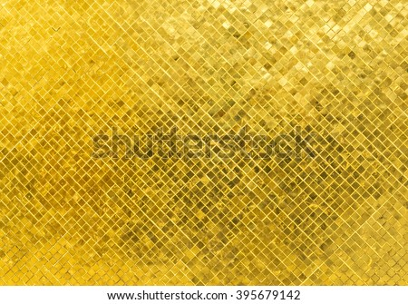 Abstract Luxury Shiny Golden Tone Wall Flooring Tile Glass Seamless Pattern Mosaic Background Texture for Furniture Material. Art Square Seamless Pattern with Shade for Modern Interior Design Style - stock photo