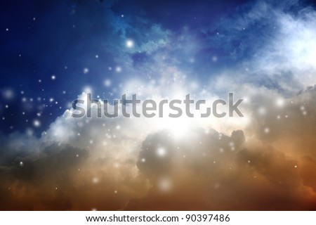 Abstract magic background - beautiful clouds, dark blue sky. - stock photo