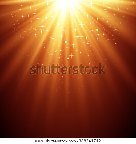 Abstract  magic light background with star. Shiny light background. Gold magic light - stock photo