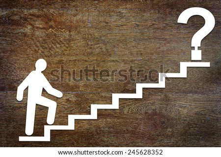 Abstract man going upstairs to his purpose - stock photo