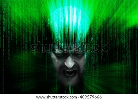 abstract man's face with eyes closed, immersed in matrix of binary code - stock photo