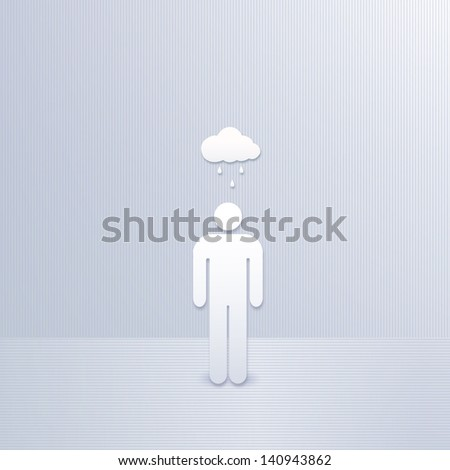 abstract man with cloud and rain - stock photo