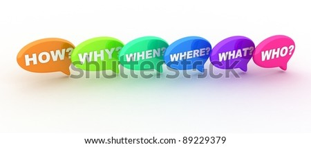 Abstract Many questions (done in 3d, white background) - stock photo