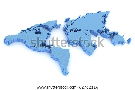 Abstract map, blue colour (done in 3d, isolated) - stock photo