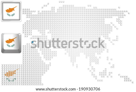 Abstract map of Asia with highlighted Cyprus and national flag - stock photo