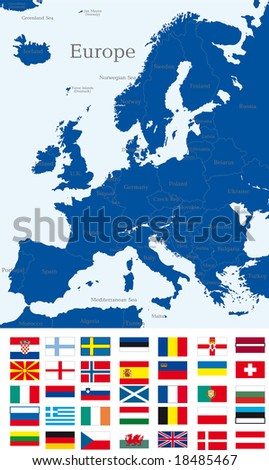 Abstract map of europe continent with countries flags