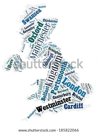 abstract map of United Kingdom word cloud - stock photo