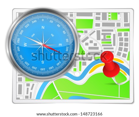 Abstract map with compass and push pin - stock photo