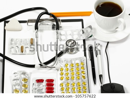 Abstract medical concept, background with office supply - stock photo