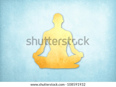 Abstract meditating people from grunge paper background - stock photo