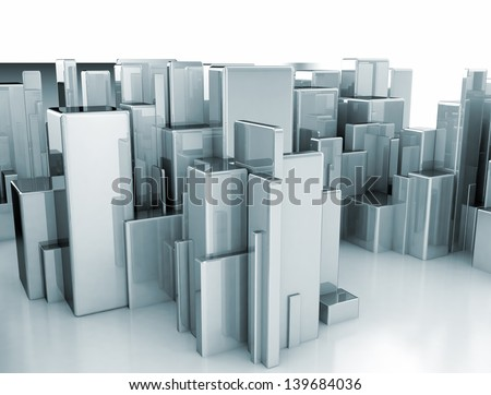 Abstract metal constructed 3d city - stock photo
