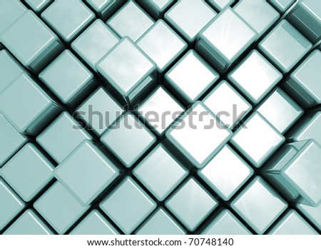 Abstract metal cube background