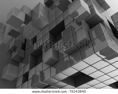 abstract metal cubes background - stock photo