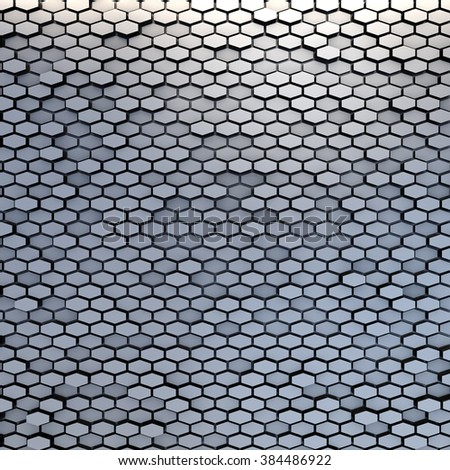 abstract metal material hexagons background - stock photo