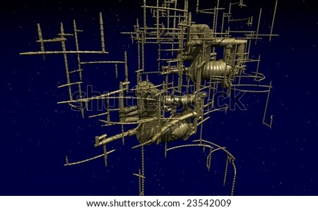 abstract metal space station - 3d illustration