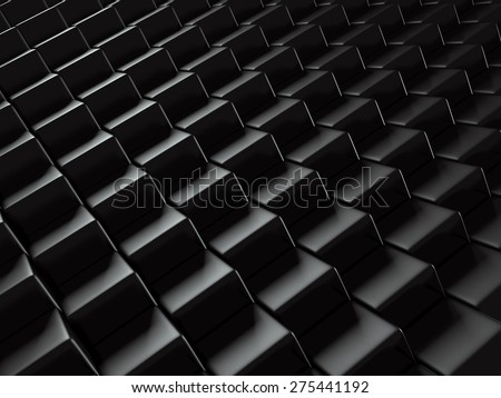 Abstract Metallic Black Blocks Background. 3d Render Illustration - stock photo