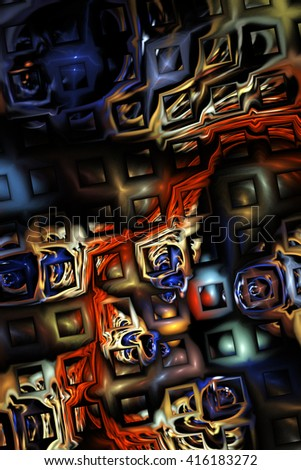 Abstract metallic blue and red puzzles on black background. Creative fractal design for greeting cards or t-shirts. - stock photo