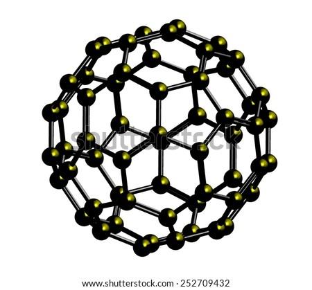 Abstract metallic fullerene C60 - stock photo