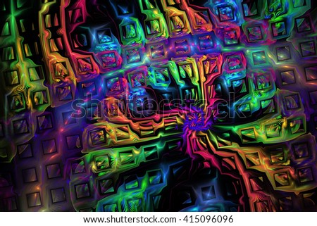 Abstract metallic rainbow puzzles on black background. Creative fractal design for greeting cards or t-shirts.