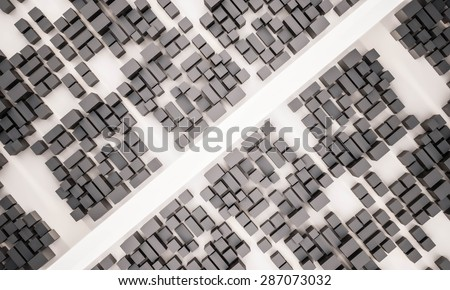 abstract metropolis top view with cut through road  - stock photo