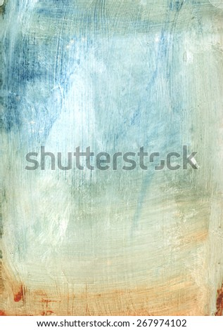 Abstract mixed media blue and golden texture - stock photo